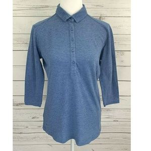 Port Authority Top 3/4 Sleeve Collared Fitted Blue